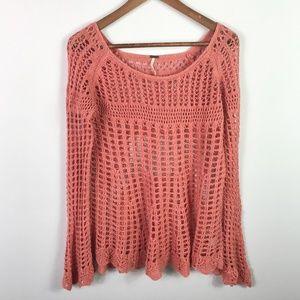 Free People Size M Boho Sweater Open Weave Crochet